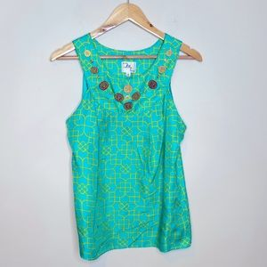 Milly New York Silk Sleeveless Embellished Top